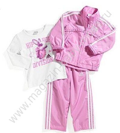 Спортивный костюм Adidas Розовый (штаны + ветровка + топ)